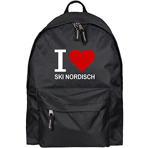 Rucksack Classic I Love Ski Nordisch schwarz - Lustig Witzig Sprüche Party Tasche -
