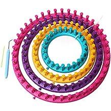 Godagoda Ensemble 4PCS Métiers à Tisser Ronds en Plastique 13cm 18cm 23cm  28cm Outil à Crochet 6c1f273f58f
