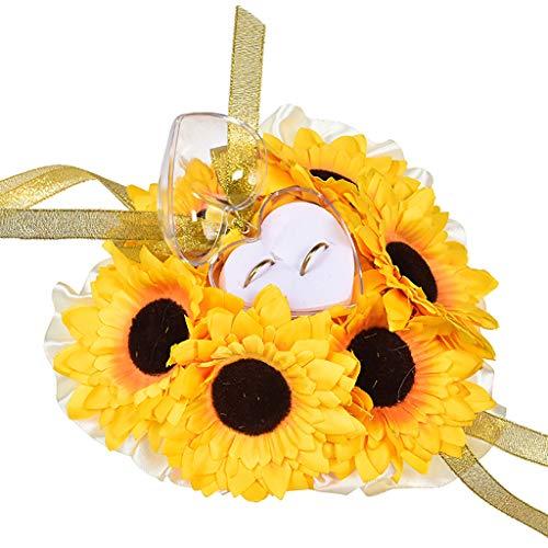 FiedFikt Hochzeits-Ring-Kissen Kissen Bearer Perlen Blume 19 x 19 cm gelb/weiß, Schmuckkästchen, Schmuck-Organizer, Hochzeitszubehör, Hochzeitsdekoration. gelb - Ballon Brief X