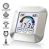 StillCool Thermo-hygromètre électronique, Thermomètre Hygromètre Intérieur sans fil, Écran LCD digital, Tactile Écran Thermomètre avec Alarme et horloge (Argent)