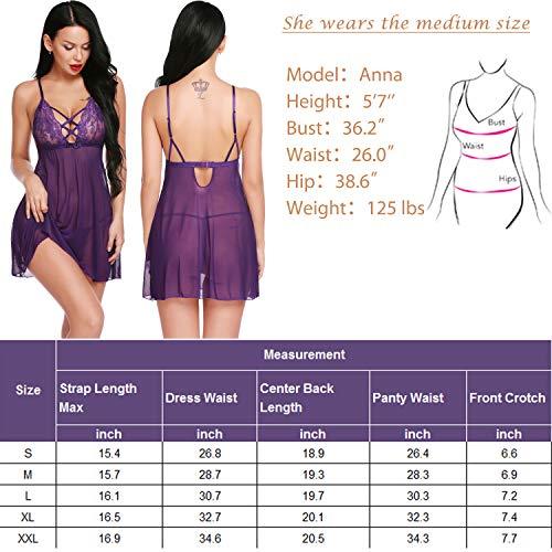 wearella Damen Dessous Babydoll, V-Ausschnitt, Nachtwäsche, mit Spitze - Violett - X-Groß - 6