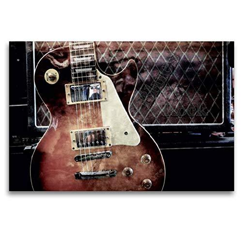 Calvendo Premium Textil-Leinwand 120 cm x 80 cm quer, Blues Rock   Wandbild, Bild auf Keilrahmen, Fertigbild auf echter Leinwand, Leinwanddruck: Les Paul Style vor Gitarrencombo Kunst Kunst