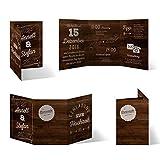 30 x Hochzeitseinladungen individuell mit Ihrem Inhalt als Klappkarte im Wickelfalz - Holz Lettering