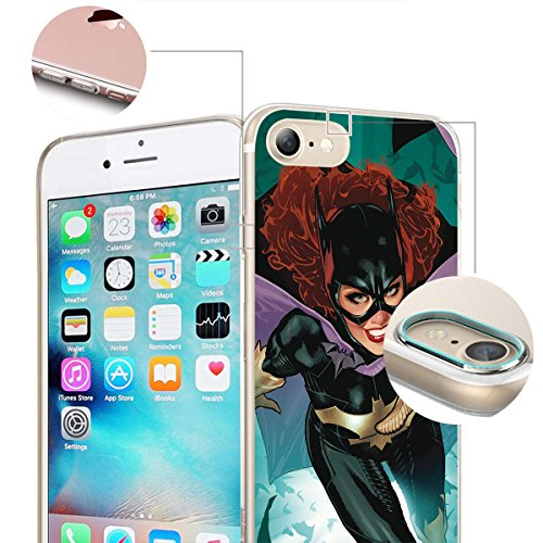 finoo | iPhone 8 Plus Weiche flexible Silikon-Handy-Hülle | Transparente TPU Cover Schale mit Motiv | Tasche Case Etui mit Ultra Slim Rundum-schutz |Batman Comic Close Up Batgirl full