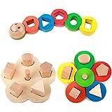 Bois Forme Préscolaire éducation Couleur Reconnaissance géométrique Bloc Stack Puzzle Trier Chunky jouets, cadeaux anniversaire jouet pour l'âge 2 3 4 ans et plus Kid Enfants Bébé Garçon Fille Toddler