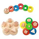 Hölzerne pädagogische Vorschul Form Farberkennung Geometrische Block Stapel Puzzle Sort Spielzeug, Geschenke zum Geburtstag Spielzeug für Alter 3 4 5 Jahre alt und Up Kind Baby Kleinkind Jungen Mädchen