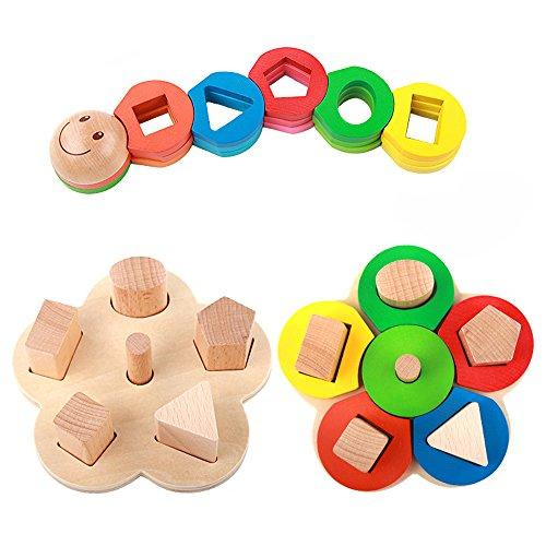 Legno Forma Colore Riconoscimento Pila Ordina Puzzle Giocattoli, regali di compleanno giocattolo per età 3 4 5 anni in su...