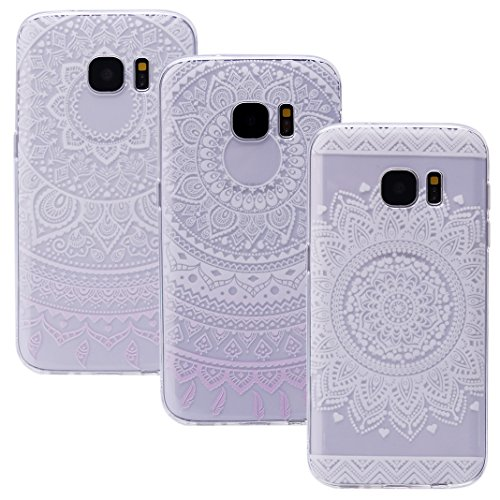 Preisvergleich Produktbild Galaxy S7 Edge Hülle Case, ZXK CO 3 Stück TPU Silicone Case Schutzhülle Ultra Dünn Tasche für Samsung Galaxy S6 Edge Hülle Durchsichtig Case Schutzhülle - Totem Blume Muster