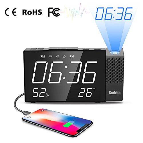 Cadrim Radio Réveil à Projection, Horloges à Projection de l'Heure et Température FM avec Double Alarmes,Numérique USB, Fonction Snooze, 12/24h, Grand Ecran LED avec Gradateur