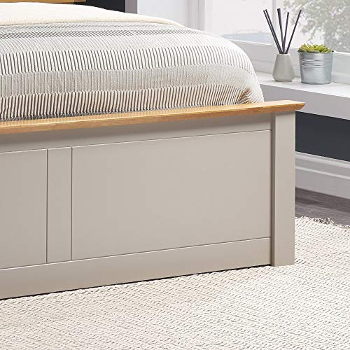 Happy Beds Phoenix Ottoman Storage Bed Pearl Grey Finish Modern Wooden Frame 5' King Size 150 x 200 cm