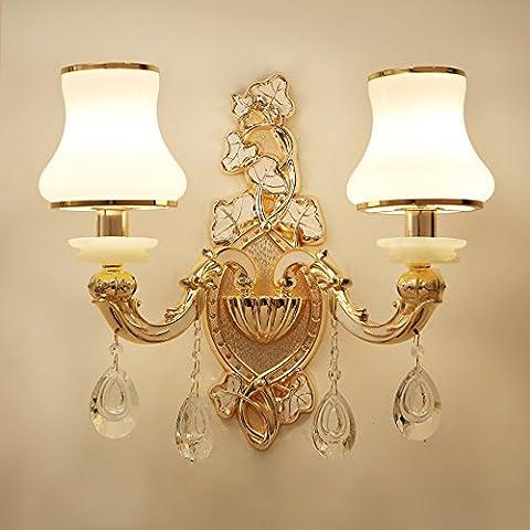 TOYM UK Applique murale à cristaux liquides alliage de zinc salle de séjour applique murale chaise chambre à coucher lampe de chevet ( Couleur : Double head )