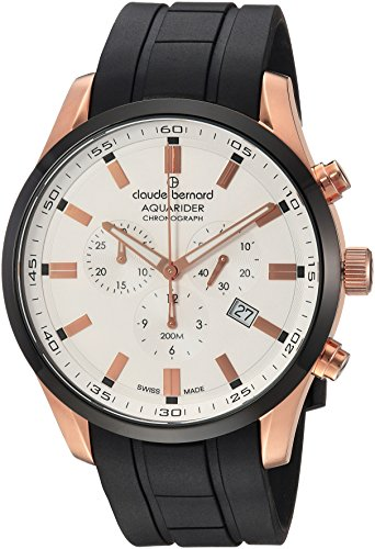 claude bernard Men's Analog Swiss-Quartz Watch with Rubber Strap 10222 37RNCA AIR