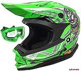 Casco de moto para niños, aprobado por la ECE VIPER-3GO X10-K OFF ROAD ENDURO ATV casco de bicicleta con gafas, color verde