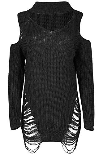 Be-Jealous-Womens-Oversized-Knitted-Destroy-Cold-Cut-Out-Shoulder-Choker-Neck-Keyhole-Mini-Ripped-Dress