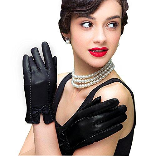 Schwarze Leder Kostüm Handschuhe (Edith qi Damen KlassischTouchscreen Texting Fahren Winter Warm Futter Weiches Leder Handschuhe mit)