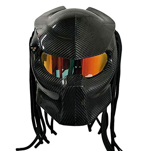 C-TK Moto Casco Predator Fibra di Carbonio, Il più Cool Faccia Piena di Ferro Guerriero Uomini e Donne Casco Lente Anti-Nebbia, DOT Certificazione di Sicurezza,S,M(55~57cm)