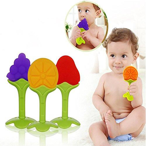 Shsyue® 3pcs Baby Beißring, Lebensmittelqualität Silikon Zahnen Spielzeug Set mit Schnuller Clip für Schätzchen, Säugling und Kleinkind