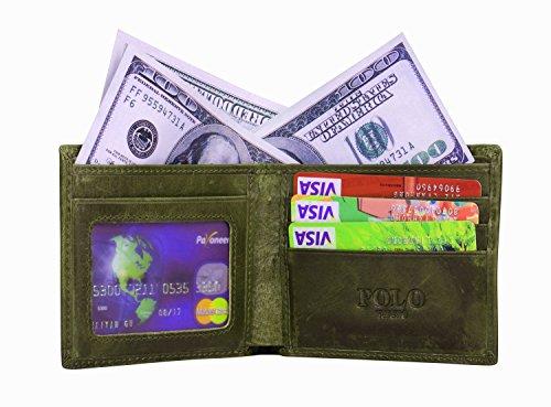VIDENG POLO RFID Blockierung Bifold Wallet Echtes verrücktes Pferd Leder Geldbörsen zum Männer Jahrgang Legerer Stil (Braun-wc8) Olive-wc7