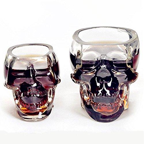 Bones Armor Warrior Trinkbecher, transparenter schwerer Boden, Glas, Totenkopf-Gesicht, Muster, Getränkeglas für Feier, Dekoration, Party