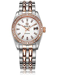 Binlun hombres 2 diamantes de tono de cristal de zafiro japonés mecánico automático reloj de acero inoxidable con fecha