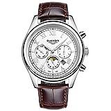 guanqin Analog Quarz Herren Beliebte Marke Edelstahl und Leder Kalender Luminous Monat Phase Wasserdicht modische Einzigartiges Design Armbanduhr Silber Weiß Braun