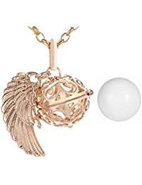 Morella Damen Halskette gold Edelstahl 70 cm mit goldenem Anhänger Engelsflügel und Klangkugel Ø 16 mm in Schmuckbeutel