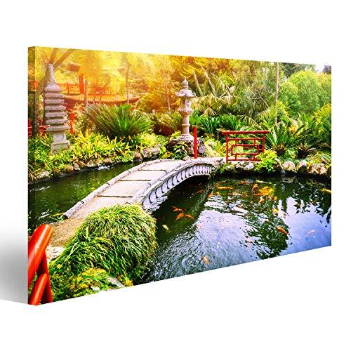Garten-teich-canvas Art (bilderfelix® Bild auf Leinwand Japanischer Garten mit Schwimmenkoi fischt im Teich. Natur Hintergrund Wandbild, Poster, Leinwandbild OBD)