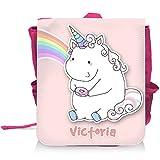 Kinder-Rucksack mit Namen Victoria und schönem Motiv - Einhorn mit Donut und Regenbogen in Pastel-Farben - für Mädchen