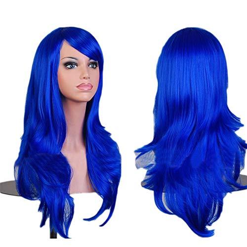 Perücke Perücken Damen lockige Frauen Lang Haar Wig Dunkel braun für Karneval oder Cosplay Party, Fasching Kostüm Haarteil Golden Rule Lady/Seitenscheitel Hitzeresistente Synthetik Wavy