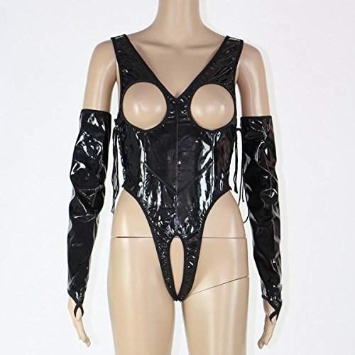 DuuoZy Frauen reizvolle Kunstleder-Teddybär-Wäsche Open Cup Crotchless Body mit Handschuhen , black , xxl