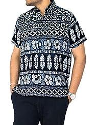 La Leela | Hawaiana Camisetas formal | Blusa Hombre Casual Moda vestir originales | manga corta regular fit Beach Shirt camisa de cuello XS - 5XL