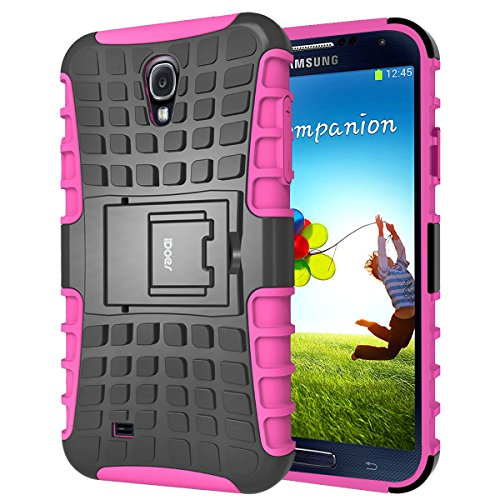 Samsung Galaxy S4 Hülle,silikon TPU Schutz Handy Stoßfest Drop Resistance Hüllen Etui Hybrid Handyhülle Das Bumper S4 Case für Samsung Galaxy S4 mit Ständer - Rosa