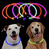 Baiwka LED Dog Collar, USB Rechargeable Glow Light Collar For Dogs, Ultra - Bright Flashing Light Up Night Safety Collar Adjustable Cut To Size Pet Necklace Collar For Pet Dog Night Safety