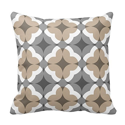But why miss Abstract Floral Clover Pattern In Tan and Grey Throw Pillow Case Sham Decor Cushion Covers Square 18x18 Inch Beige Cotton Blend Linen by -