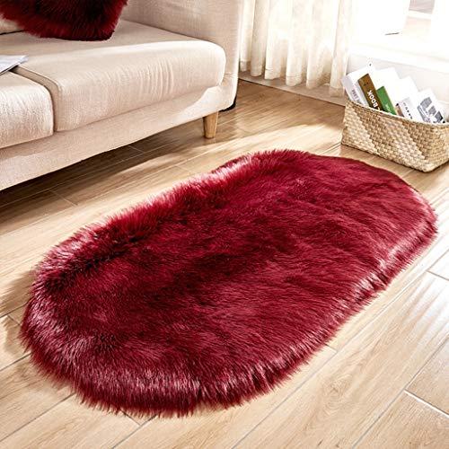 YUER Lammfellimitat Teppiche Longhair Fell,Shaggy Teppiche Faux Schaffell Teppiche Boden Teppich für Schlafzimmer Wohnzimmer Kinderzimmer Dekor (Farbe : Rot, größe : 70x150cm)