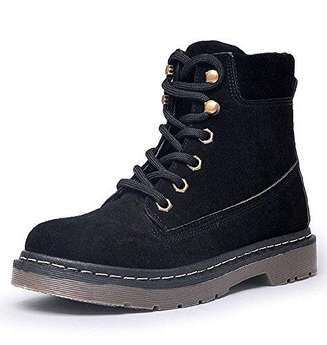 Minetom Herbst Winter Stiefel Aufladungen Damen Schnür Stiefeletten Worker Boots Warme Gefüttert Kurz Schlupfstiefel Flache Schuhe Schwarz Plüsch EU 39 (Plattform-boot Buckle)