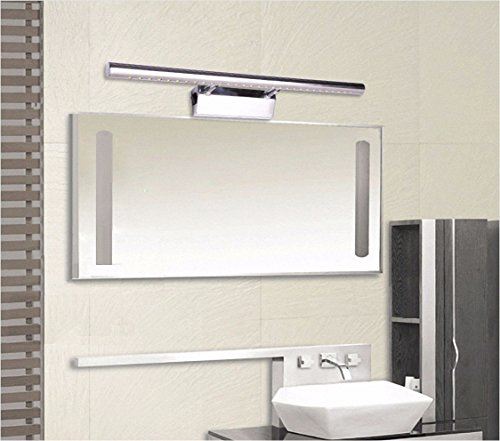 Bad spiegel Lampe LisaFeng Winkel einstellbar LED-Gehäuse aus rostfreiem Stahl, moderne Wasserdicht Beschlagfrei, Silber, 70cm, Warmweiß