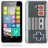 Etui de créateur pour Nokia Lumia 630 / 635 - Etui / Coque / Housse de protection blanc / noir en Silicone avec motif Retro NES Gamepad