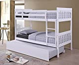 Lydia Hardwood White Finished Bunk Bed with Trundle Guest Bed