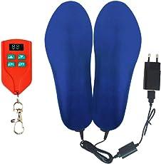 J-Jinpei Beheizbare Einlegesohlen Fußwärmer Beheizbare Thermosohle Kit mit Fernbedienung Schalter Drahtlose Wiederaufladbare batteriebetriebene Heizung Größe 4-15 (35-46),1-Pair