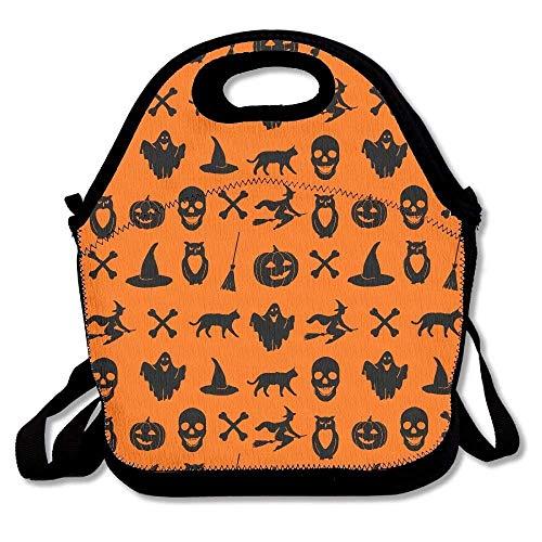 XINXI Home Halloween-Kürbis-Hut-Geist-Besen-Eulen-Knochen-Schädel-Schwarze Katze-Mittagessen-Taschen Isolierte Reise-Picknick-Lunchbox-Tote-Handtasche mit Schultergurt für Frauen Teens Mädchen Kinder