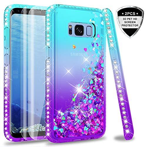 LeYi Hülle Galaxy S8 Glitzer Handyhülle mit Full Cover 3D PET Schutzfolie(2 Stück),Diamond Rhinestone Bumper Schutzhülle für Case Samsung Galaxy S8 Handy Hüllen ZX Gradient Turquoise Purple - Diamond 2 Handy