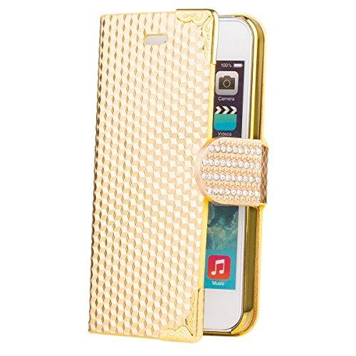 iCues Apple iPhone SE / 5S / 5 |  Diamant Strass Tasche Gold | [Display Schutzfolie Inklusive] Strass Glitzer Glitter Luxus Bling Damen Frauen Mädchen Chrome Book Klapphülle Schutz Etui Handytasche zu Gold