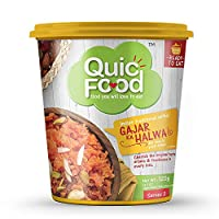 QuicFood Gajar Ka Halwa- Ready to eat Food (Freeze Dried) Indian Healthy Sweet Dish of Re-hydrated Weight apprx 220 gm (net Weight 120 gm)
