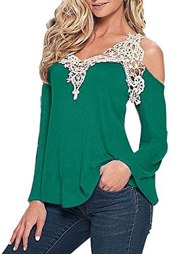 Camicetta Blusa Maniche Lunghe Casual Maglietta Maglia in Pizzo Elegante Cotone Sexy Ufficio Camicia Senza Spalline Donna Ragazza Tumblr T-shirt Collo V – Landove Verde