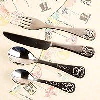Personalised Engraved Kids Cutlery Set. Knife, Fork, Spoon, Teaspoon Dinner Set