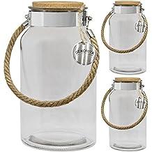 Dekovita frasco de almacenamiento Juego de 3, 5l a:30/d:16/a: 10,6cm linterna de jardín tapa de corcho frasco de cristal vidrio decorativo linterna jarrón