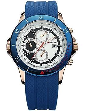 blau Uhr kühl einzigartige beiläufige Art und Weise der Männer populäre Armbanduhr für Männer blau Fall weißes...
