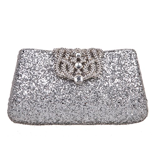 Bonjanvye Shining Crown Glitter Party Purses and Handbags for Womens Red silver