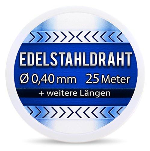 Edelstahldraht V2A - Ø 0,40 mm 25 Meter (0,20 EUR/m) Edelstahl Draht Heizdraht Schneidedraht Wickeldraht S304 AWG26 0,4